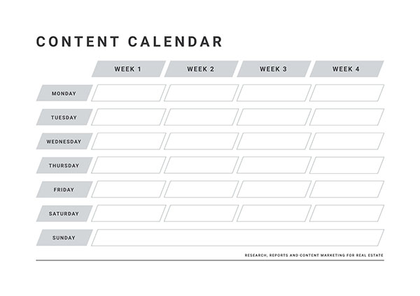 Real estate content calendar