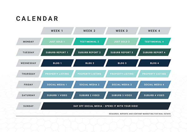 Complete Real estate content calendar