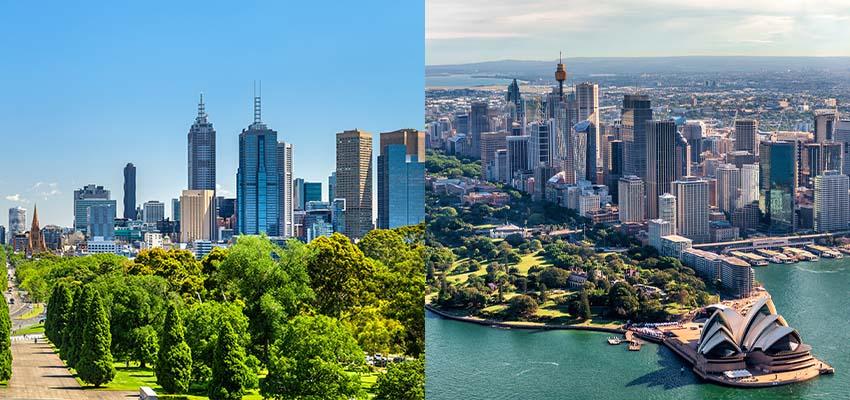 Melbourne Sydney skyline reb