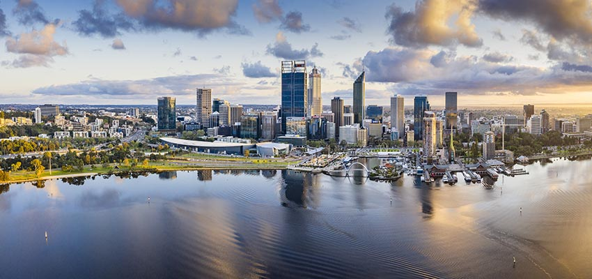 Perth CBD skyline sunset reb