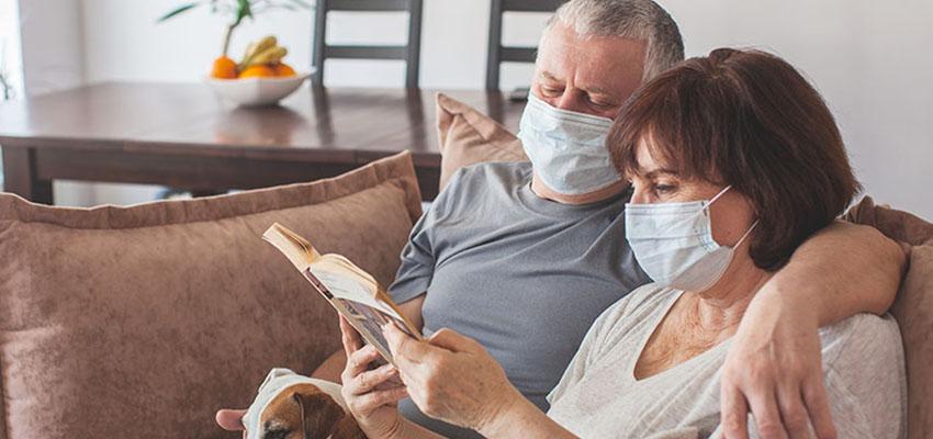 old couple wearing mask reb