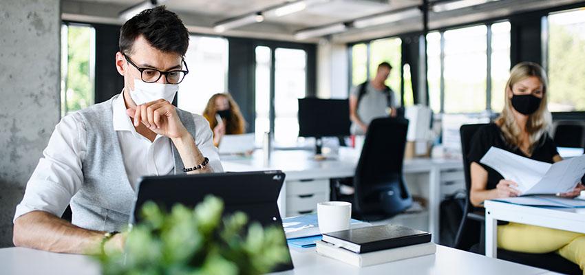 people pandemic working office reb