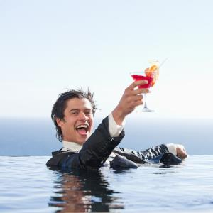 cocktail man in pool