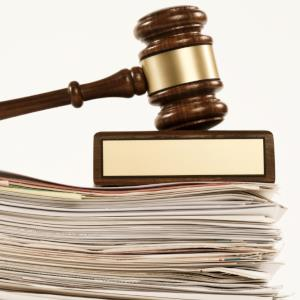 gavel and paperwork