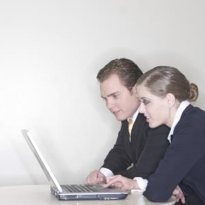 laptop with man and woman