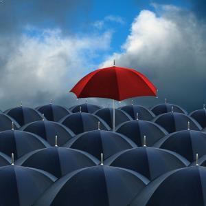 red umbrella standout