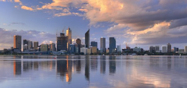 Perth skyline sunset reb