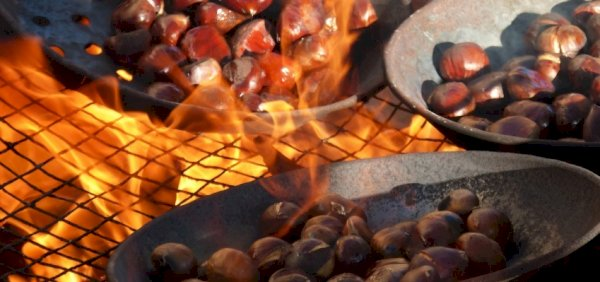 Chestnuts being roasted